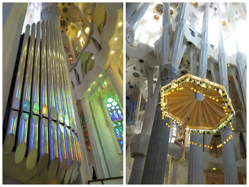 Church features of Sagrada Familia - an organ and the Jesus statue