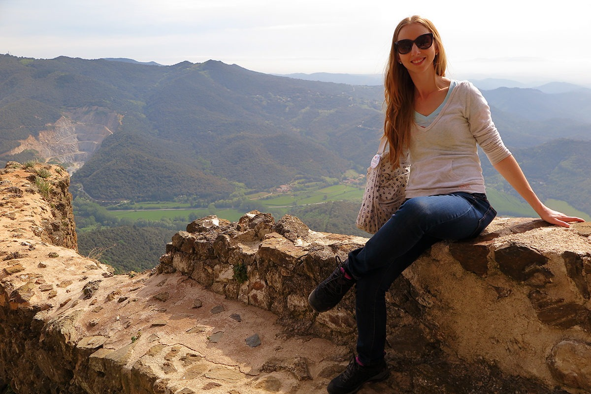 Beautiful views of Montseny National Park from the top of Montsoriu castle