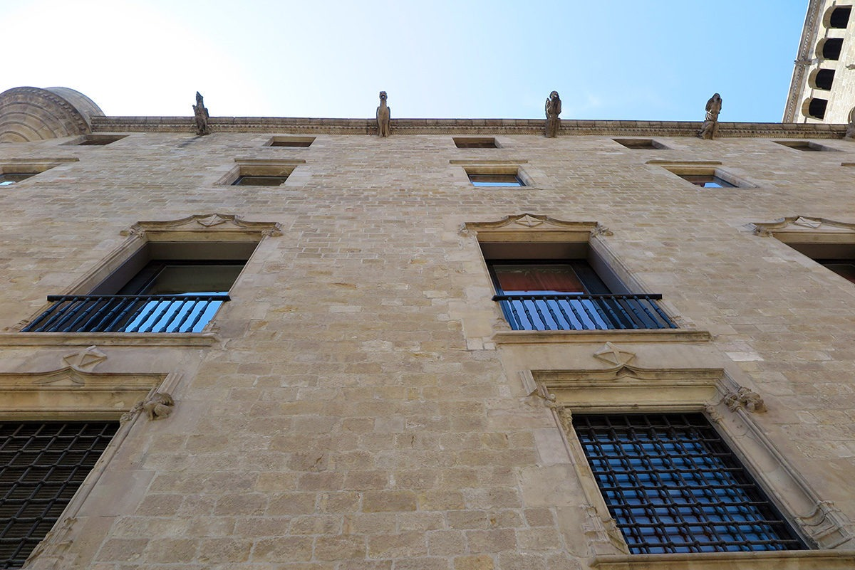 Palau Reial Major's added gargoyles and differently shaped windows, Gothic Quarter, Barcelona