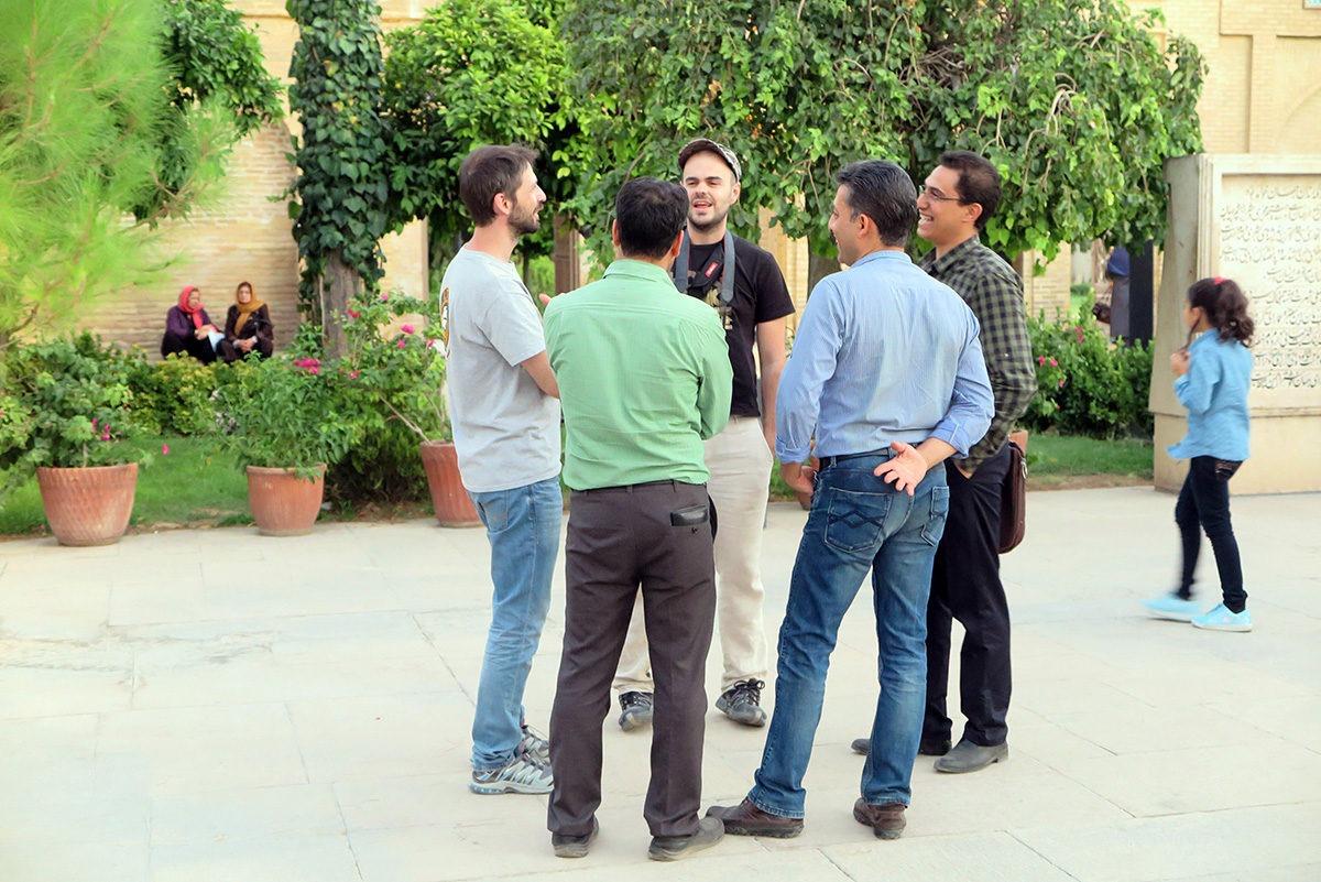 Chatting with locals at Hafez' mausoleum, Shiraz, Iran