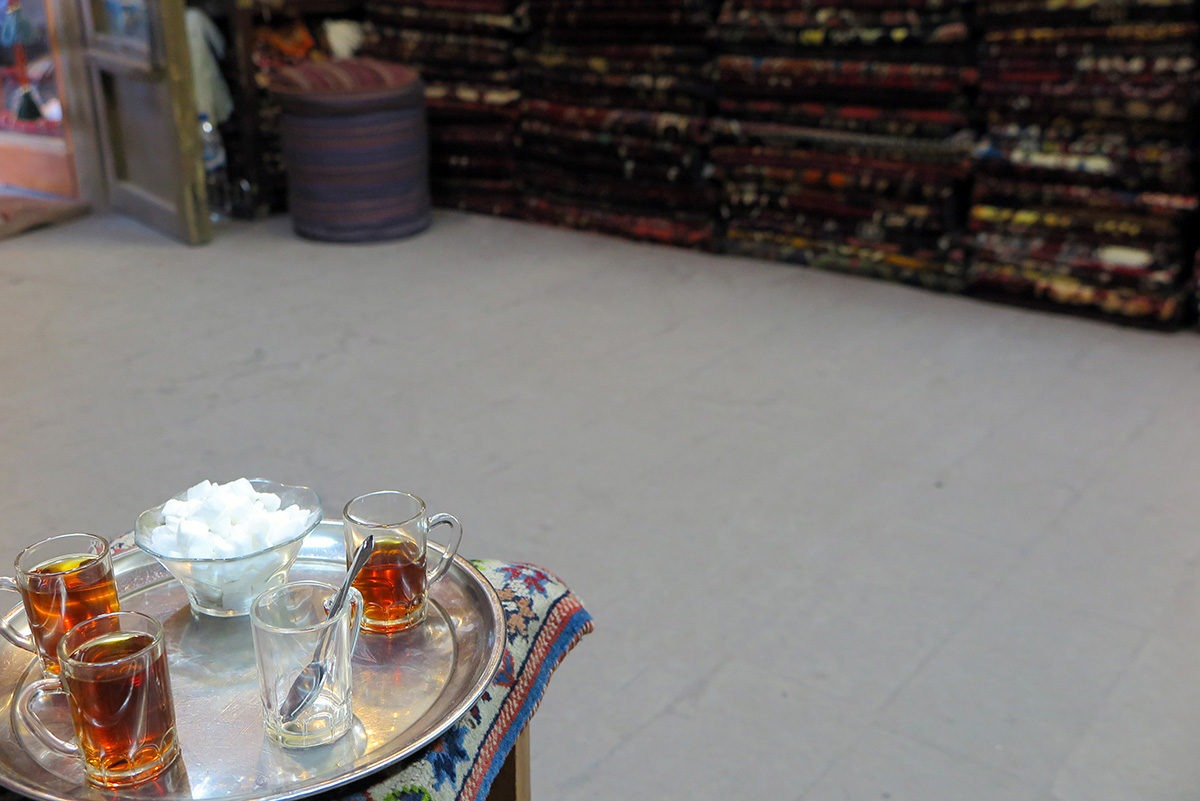 Tea in a carpet shop in Esfahan, Iran
