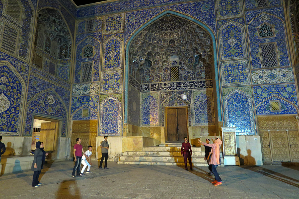 Volleyball off a mosque in Esfahan, Iran