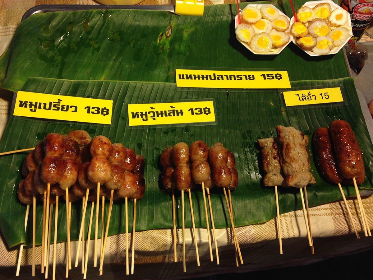 Would you like to have meat on sticks or rather cute little quail eggs? - street food in Bangkok