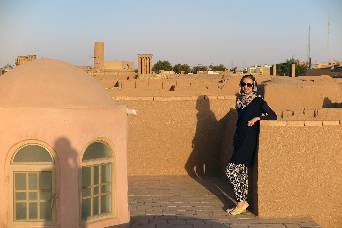 Warm colored sunset on the rooftops of Yazd