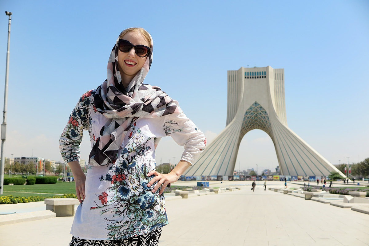 In front of the Freedom Tower in Tehran