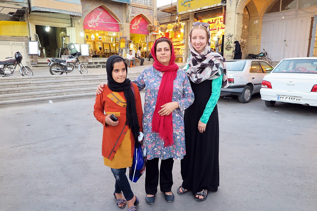With a local woman and her daughter in Esfahan, Iran