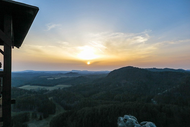 Incredible sunset, watched solitarily from the top of Mary's Rock (Bohemian Switzerland)