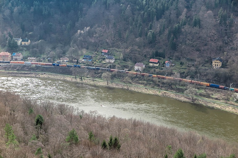 Train passing along the Elbe River, Bohemian Switzerland