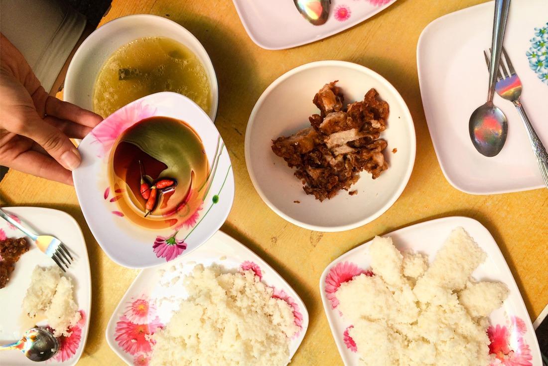 Fried pork intestine feast in Cebu City, Philippines. www.travelgeekery.com