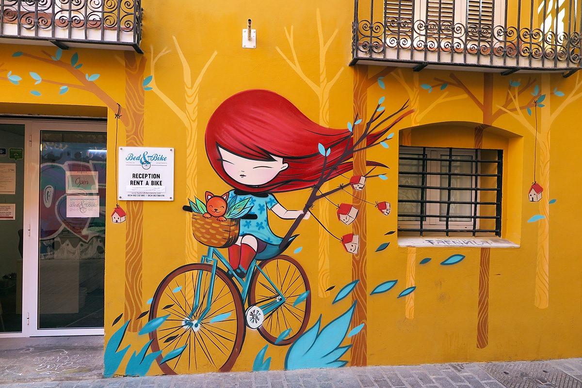 Cool street art on a hostel in Valencia
