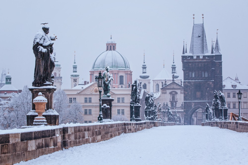 Prague Charles Bridge winter