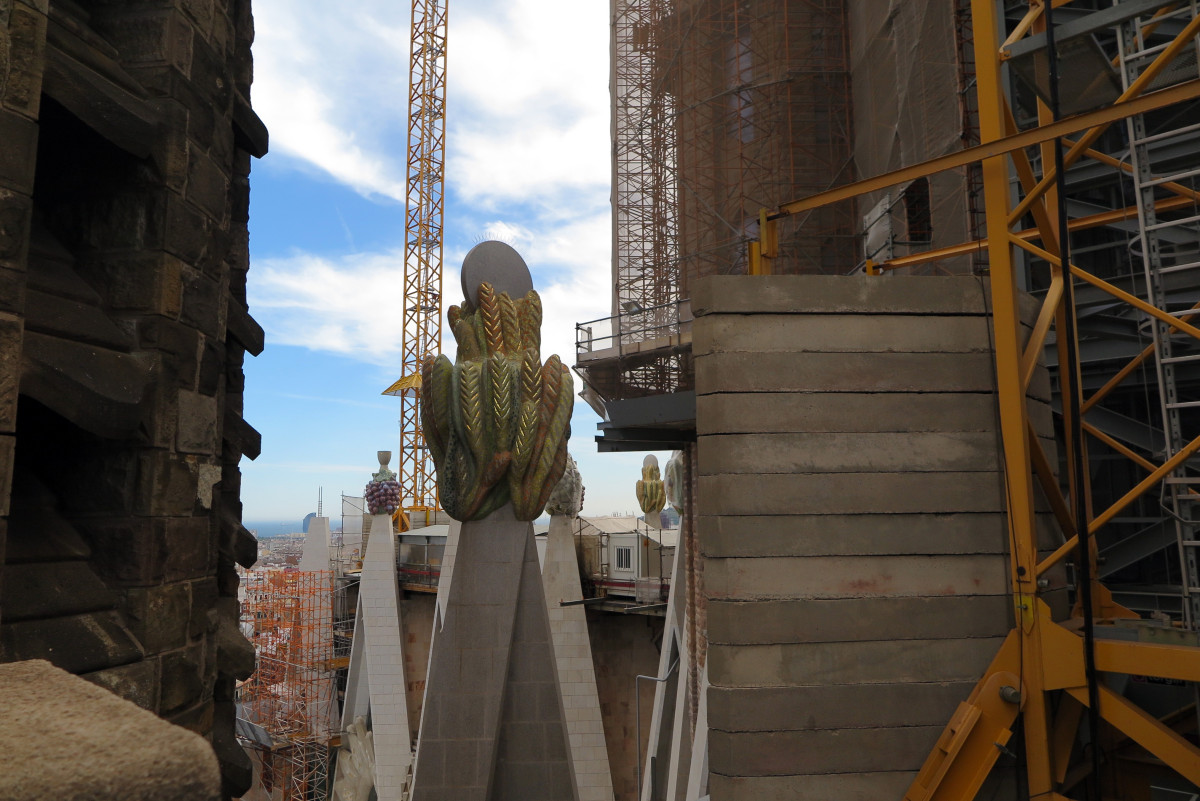 The on-going building process of Sagrada Familia