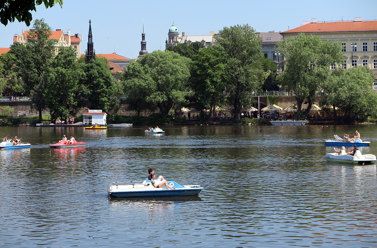What locals do in summer in Prague - pedal boat riding!
