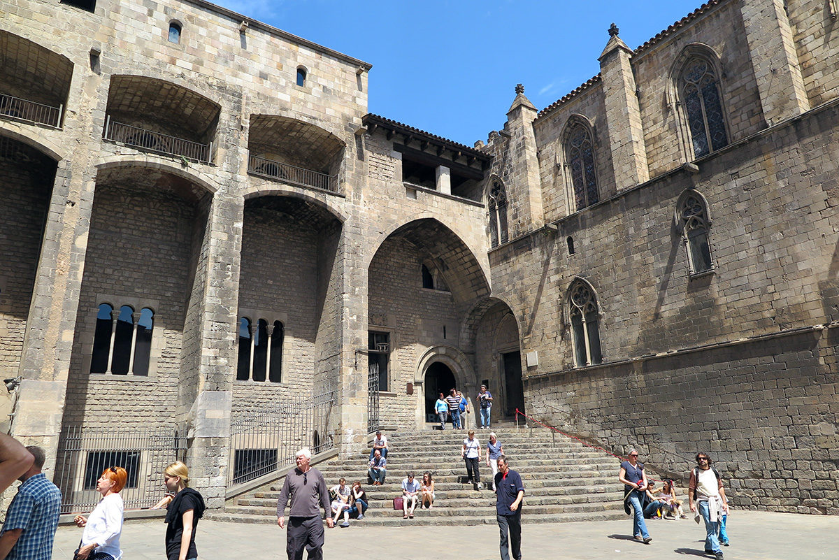 The front of Palau Reial Major, Gothic Quarter, Barcelona