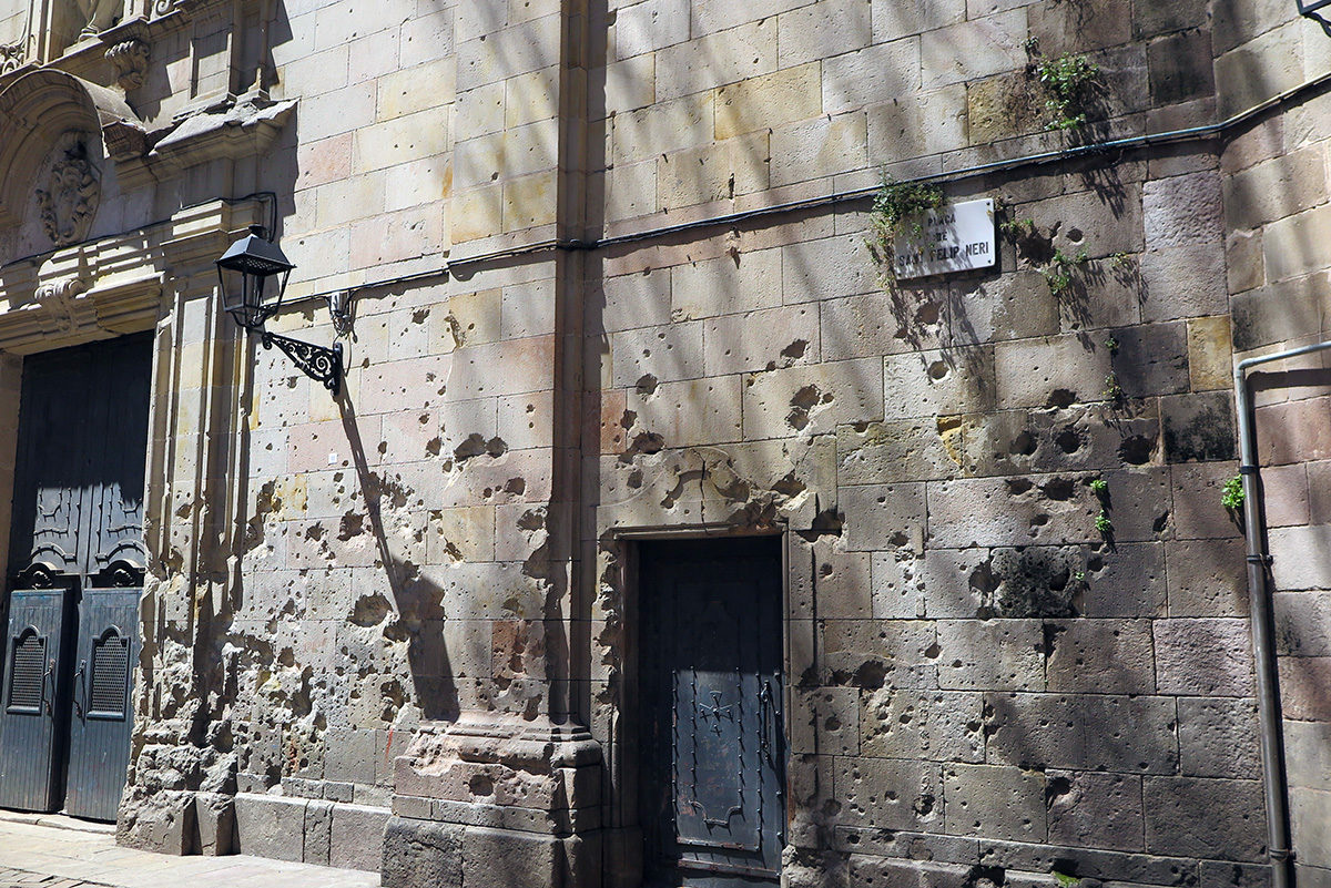 Bullet holes on Placa Neri, Barcelona