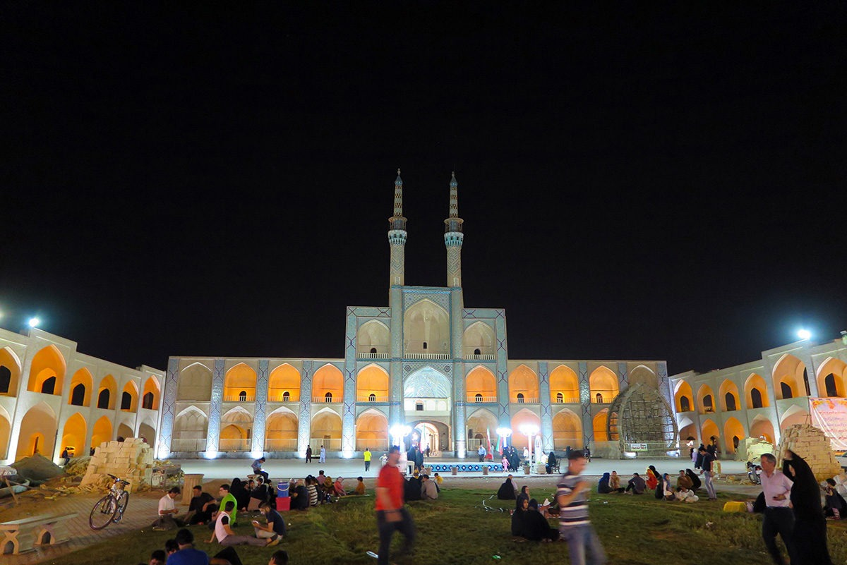 Picnic in front of Amir Chakhmaq Complex in Yazd, Iran