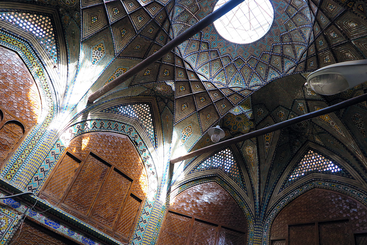 Beautiful interior decoration of Persian buildings.. this one is part of Esfahan's bazaar