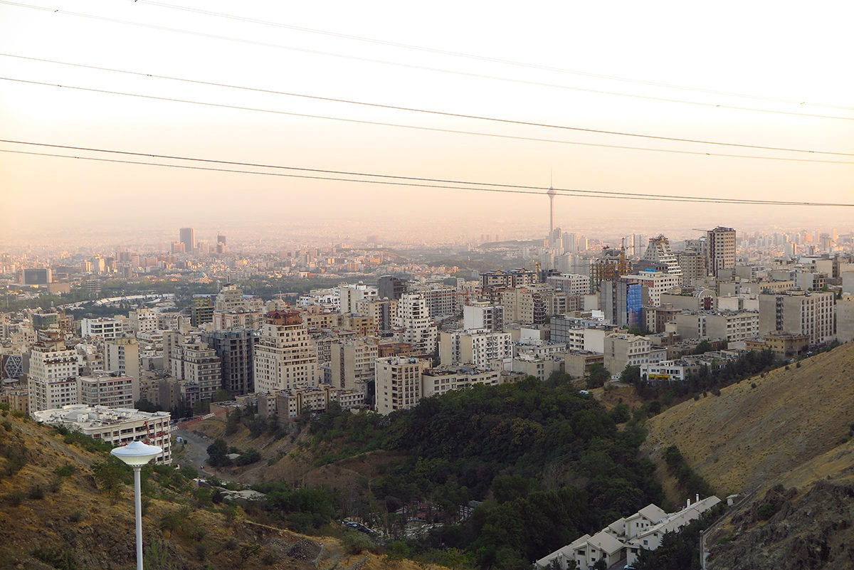 View of smog-capped Tehran
