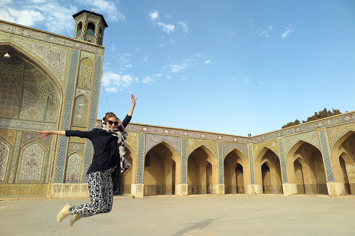Jumping in a mosque in Shiraz, Iran