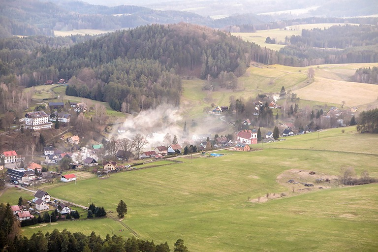 The village of Jetrichovice as seen from the top of Mary's Rock (Bohemian Switzerland)