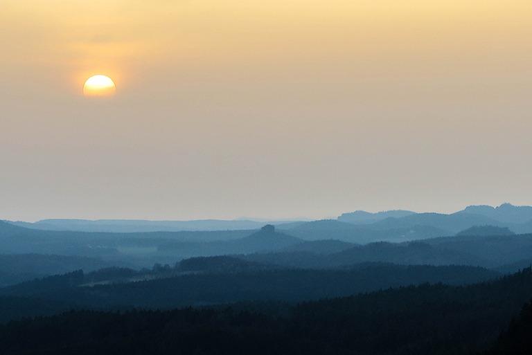 Sunset above the mountains of Bohemian Switzerland