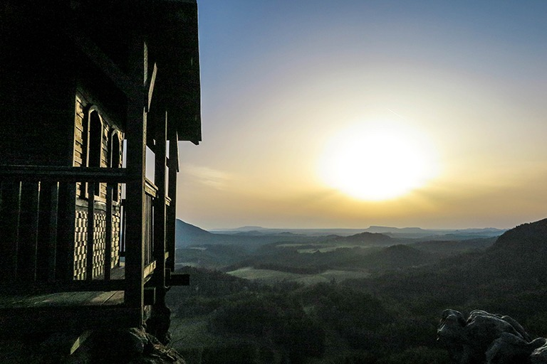 Incredible sunset over Bohemian Switzerland, as observed from Mary's Rock