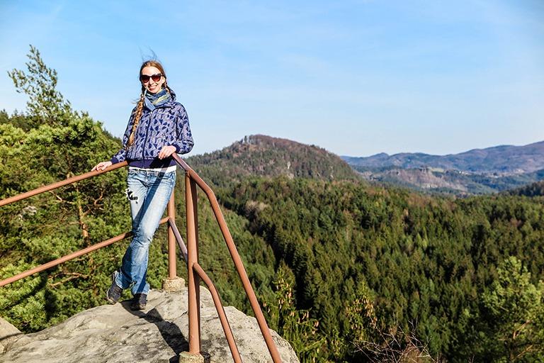 Enjoying the breathtaking views from the top of Šaunštejn in Bohemian Switzerland National Park (Czech Republic)