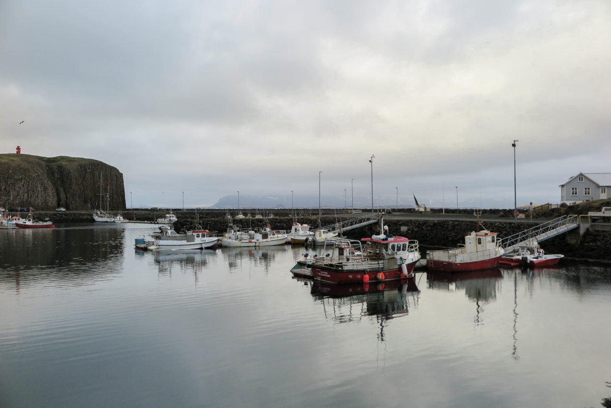 View of Stykkishólmur port on a cloudy day