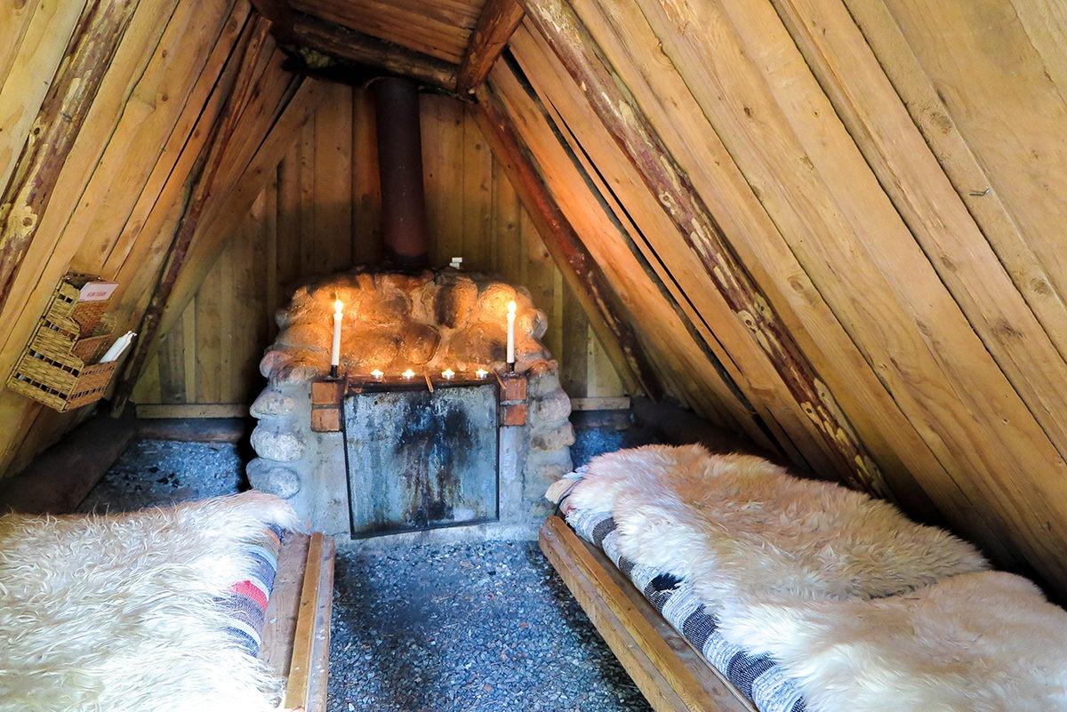 Inside of a hut at Kolarbyn www.travelgeekery.com