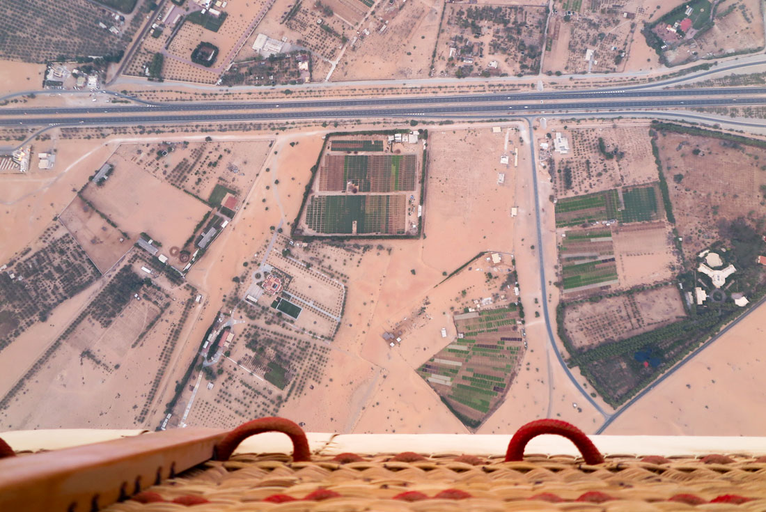 View from the hot air balloon in Dubai