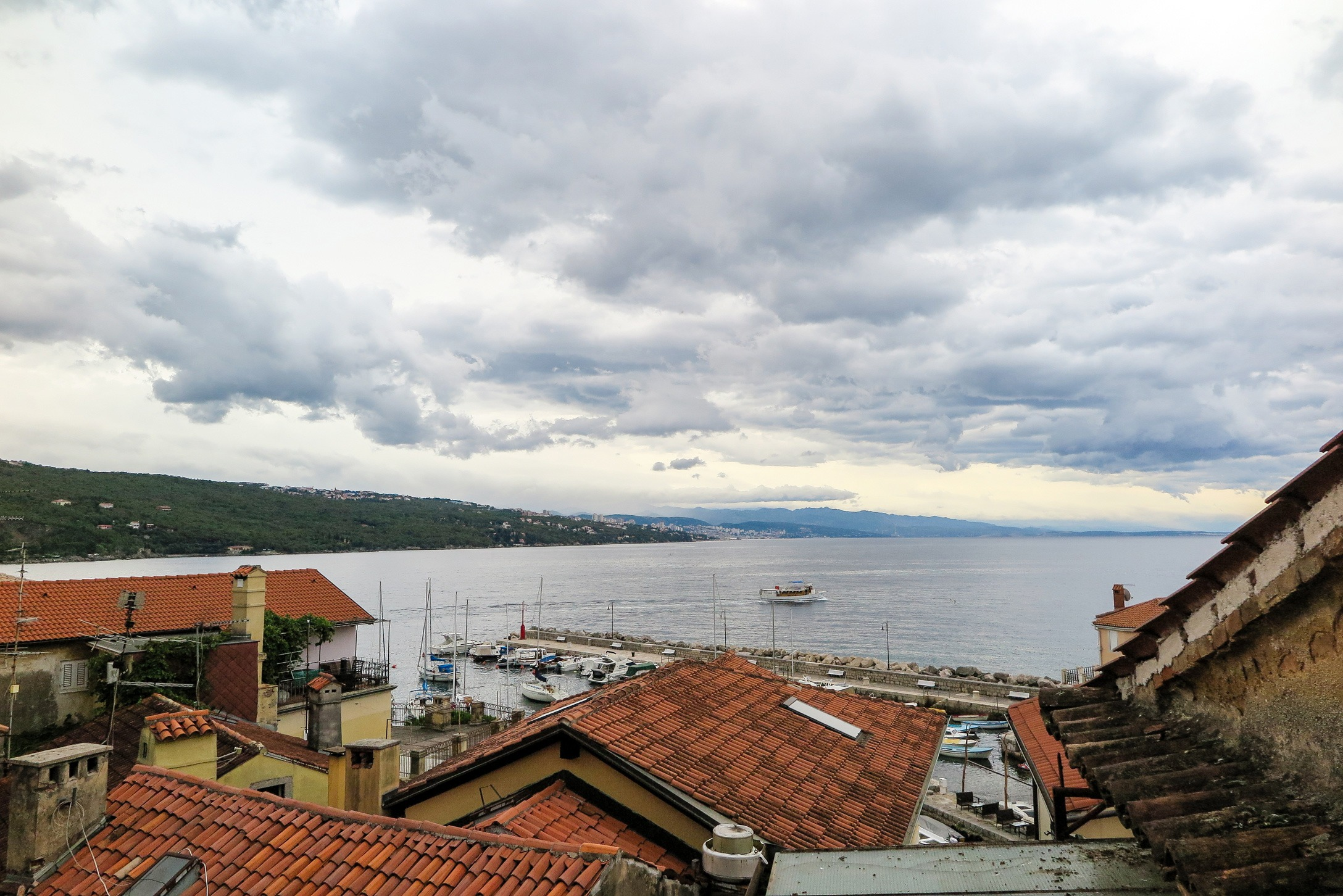Beautiful cloudy morning in Volosko, Opatija, as seen from a balcony