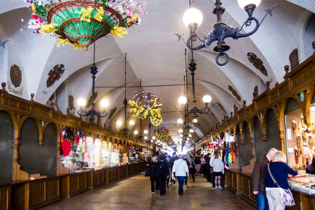 Stalls inside Krakow's Cloth Hall (Sukenice) on the main square.