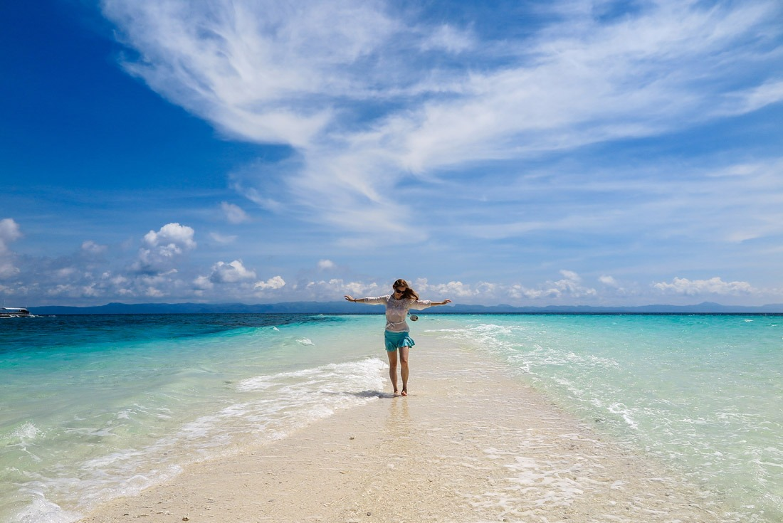 Veronika of TravelGeekery on Kalanggaman Island, Philippines