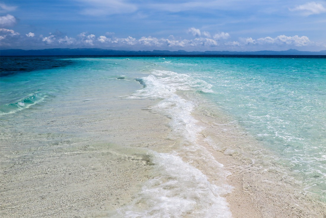 Kalanggaman Island sandbar made up by wonderful white sand