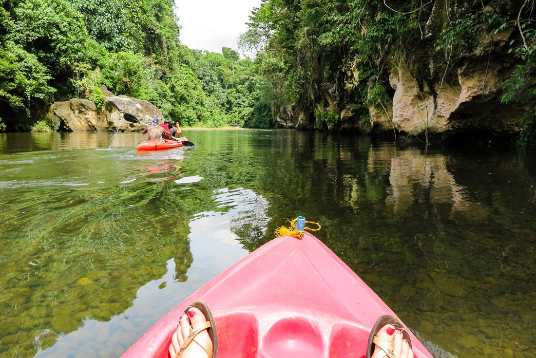 Canoeing in Sohoton National Park, Samar