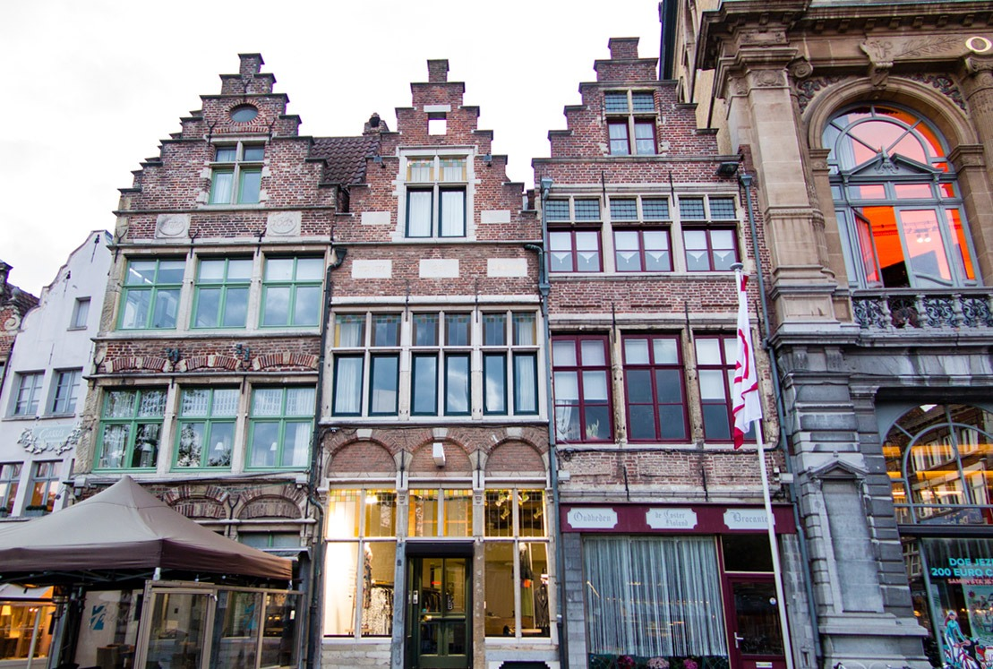 Cluster of historical houses in Ghent, Belgium
