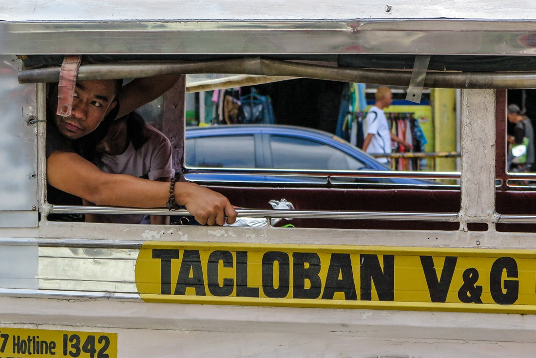 A man in a jeepney in Tacloban, Philippines