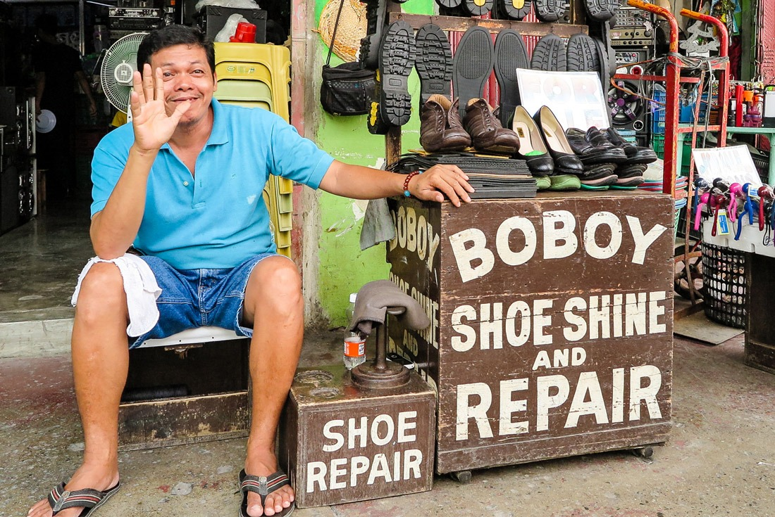 A friendly shoe maker in Tacloban, Leyte