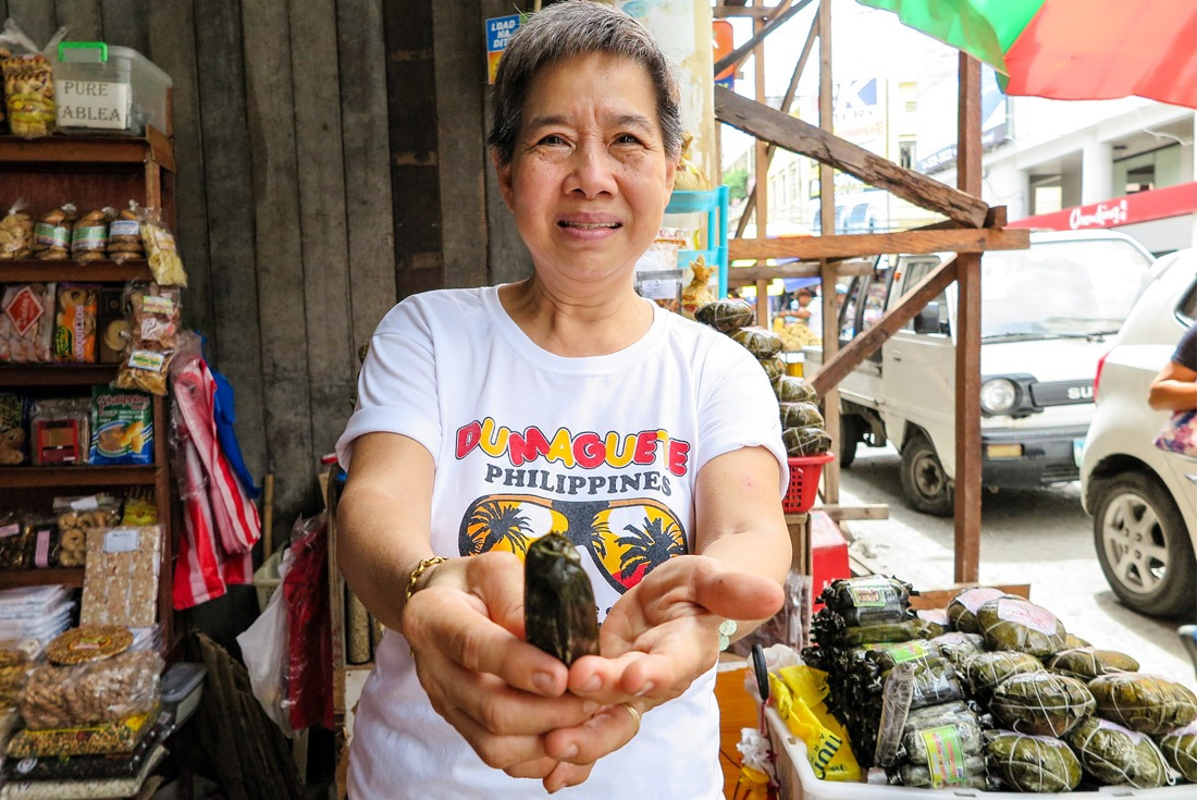Mrs. Cherry and her homemade Kakanin sweets, Tacloban street market