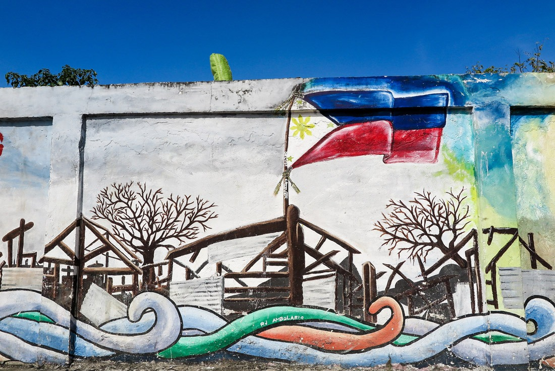 Part of the mural reminding of Haiyan storm in Tacloban.