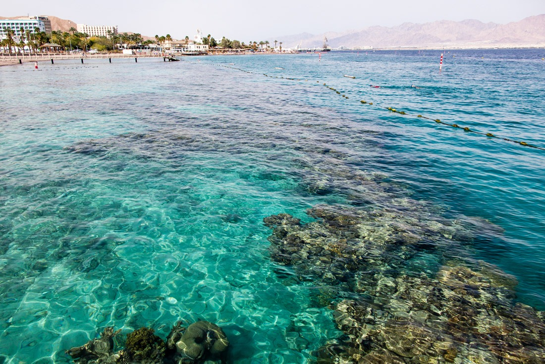 The beach and the coral reef in Coral Beach NR Eilat Israel