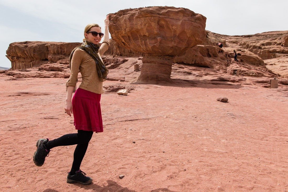 Veronika of TravelGeekery by the Mushroom Rock in Timna NP, Israel