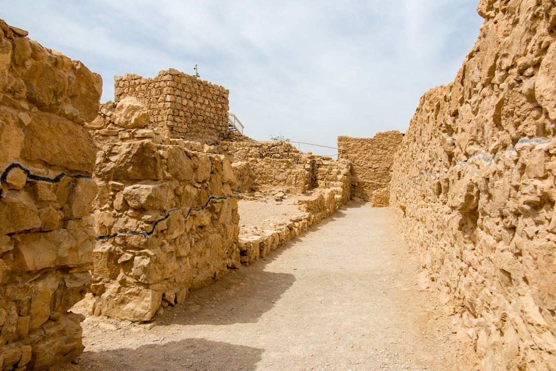 Lines on the walls of Masada showing what's reconstructed and what's rebuilt