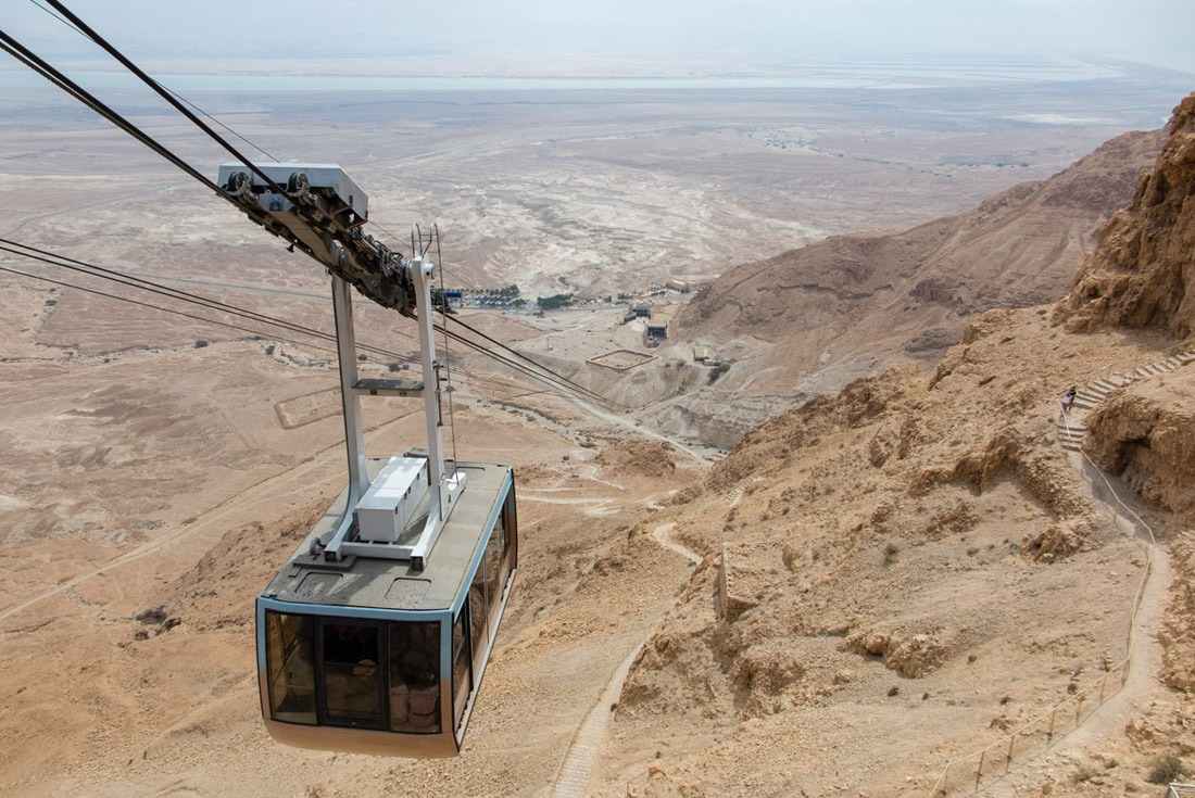 Taking a cable car to the top of Masada
