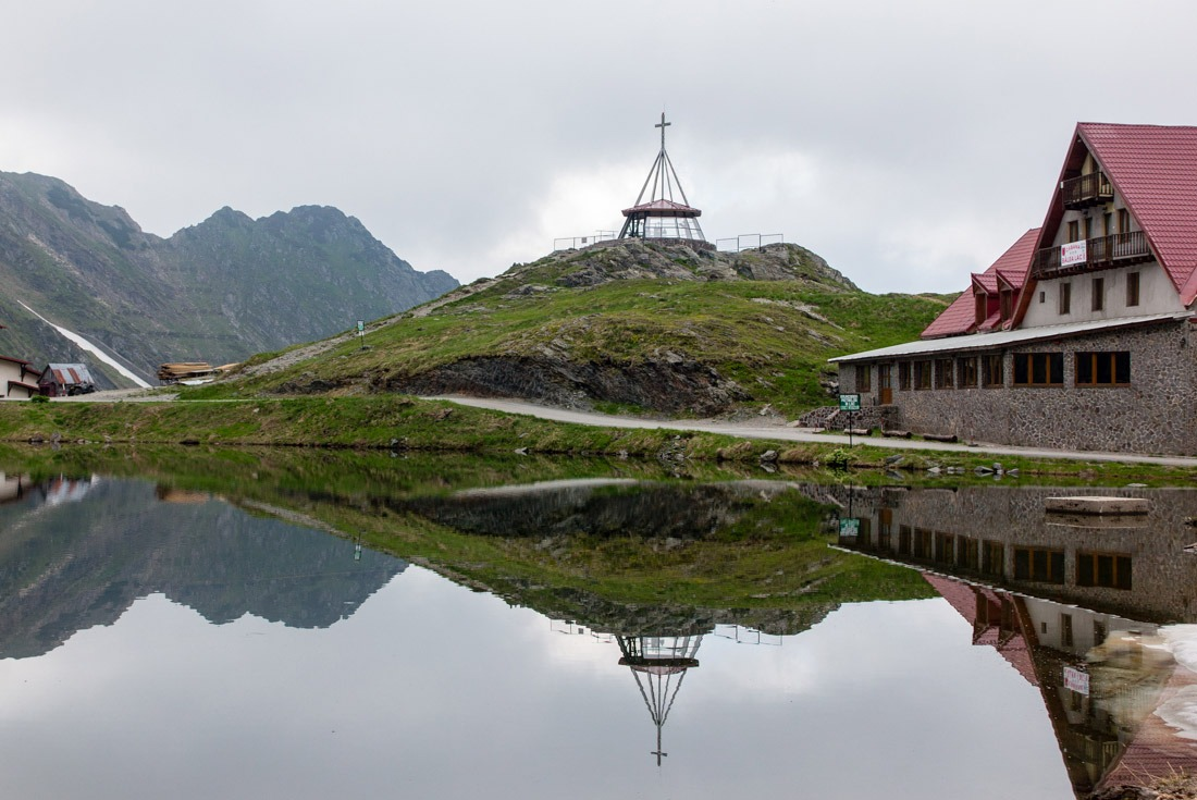Top of Transfagarasan Road reflecting in Balea Lake