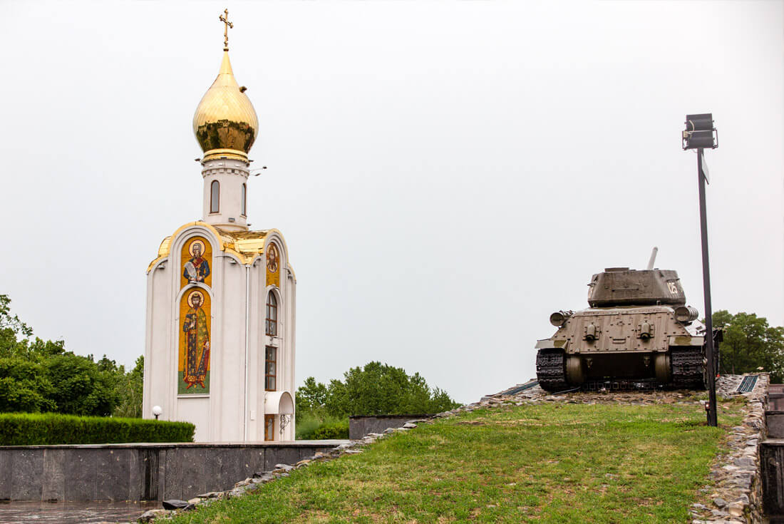 Tank next to an Orthodox Church