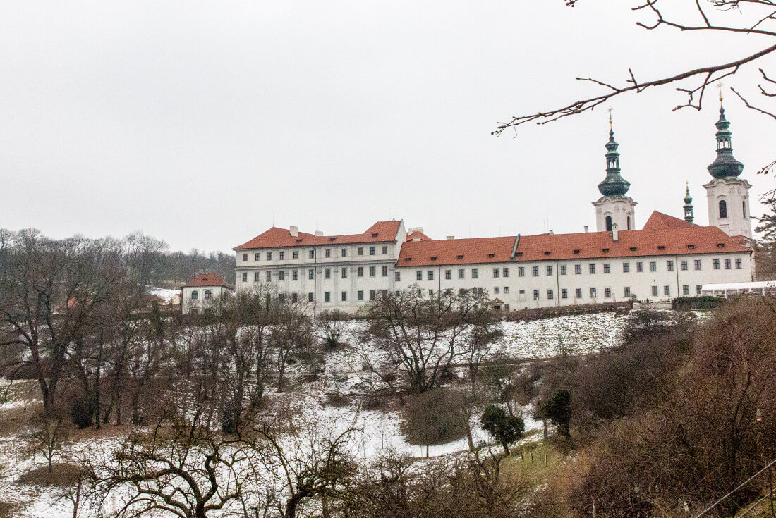 Partially snowy slopes of Strahov Monastery in February 2017