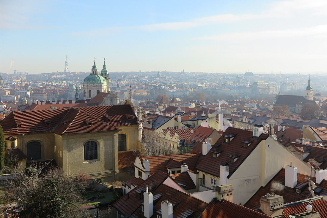 Snow-less view of the city's spires from the Prague Castle