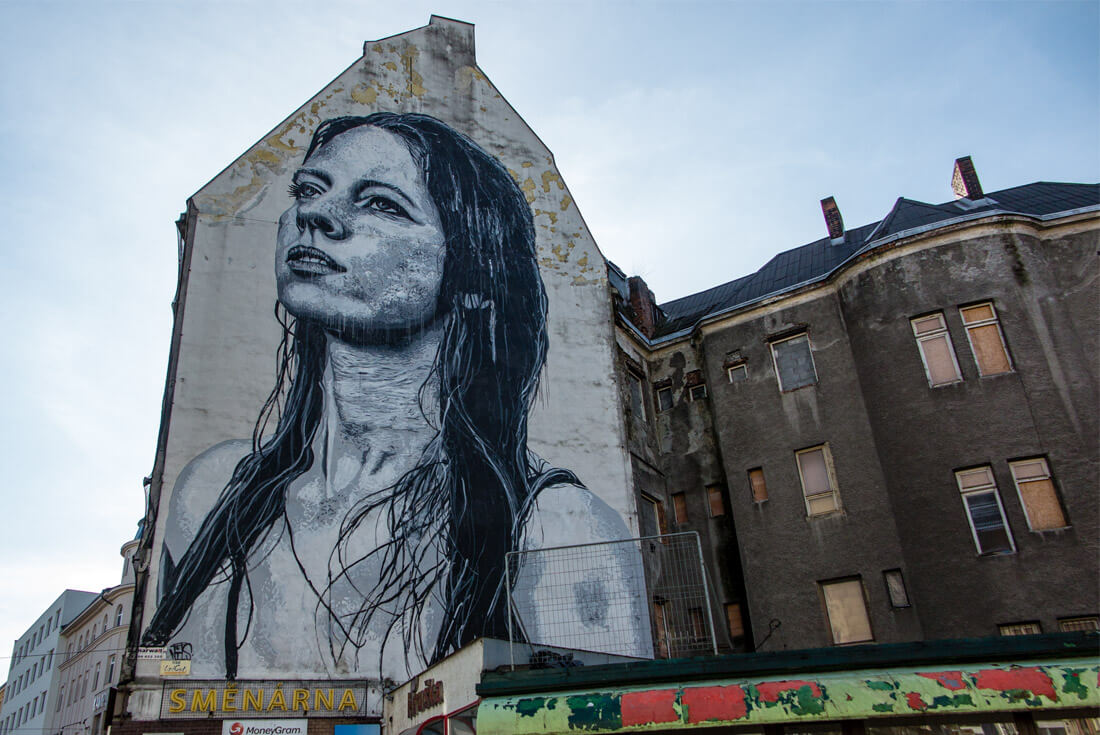 "Madonna ""Ostravica"" by Nils Westergard, the largest mural in the Czech Republic"