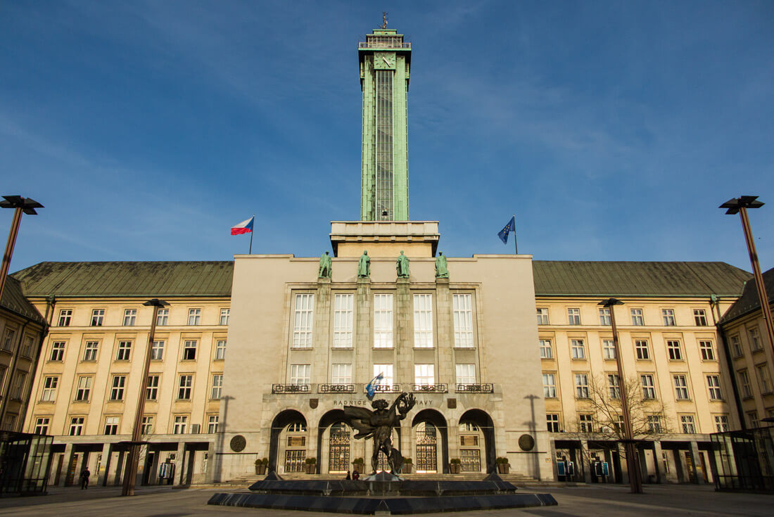 The New City Hall and Lookout Tower in Ostrava Czech Republic